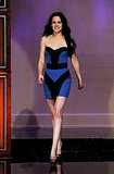 Kristen Stewart in a blue and black Monique Lhuillier dress.
