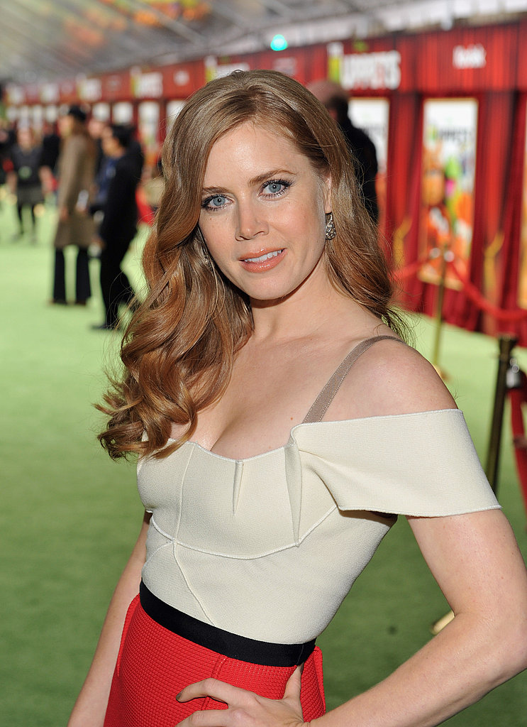 Amy Adams wore a two-tone dress to the premiere.