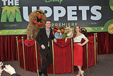 Sweetums, Animal, Rolf, Miss Piggy, Kermit, Walter, and Fozzy snapped a photo with their human costars.