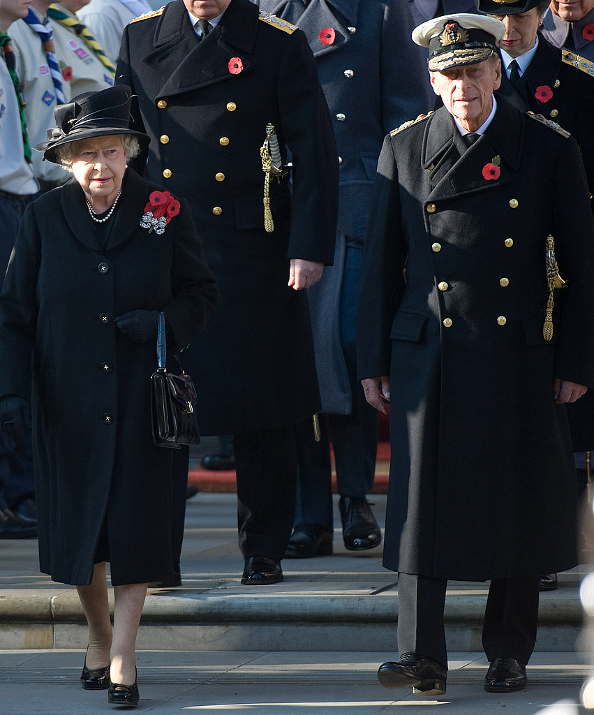 Queen Elizabeth II and Prince Philip on Remembrance Sunday in Whitehall.