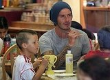 David Beckham and Cruz Beckham checked out what others at the table were making.