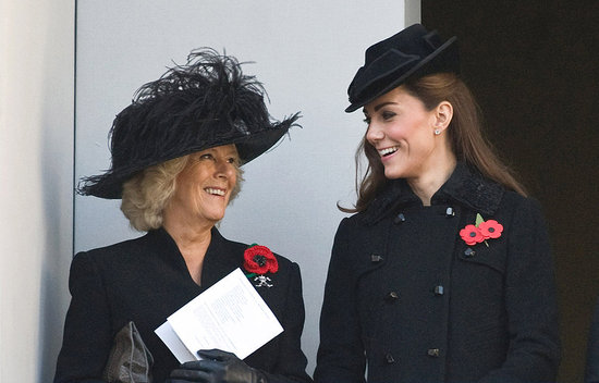 Kate Middleton and Camilla Parker Bowles shared a knowing smile in Whitehall.