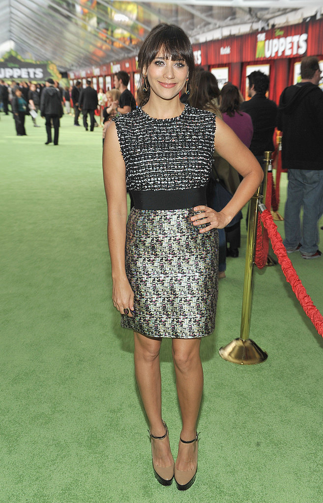 Rashida Jones wore a knee length dress to the premiere.