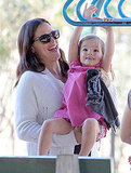 Jennifer Garner on the monkey bars with Seraphina Affleck.