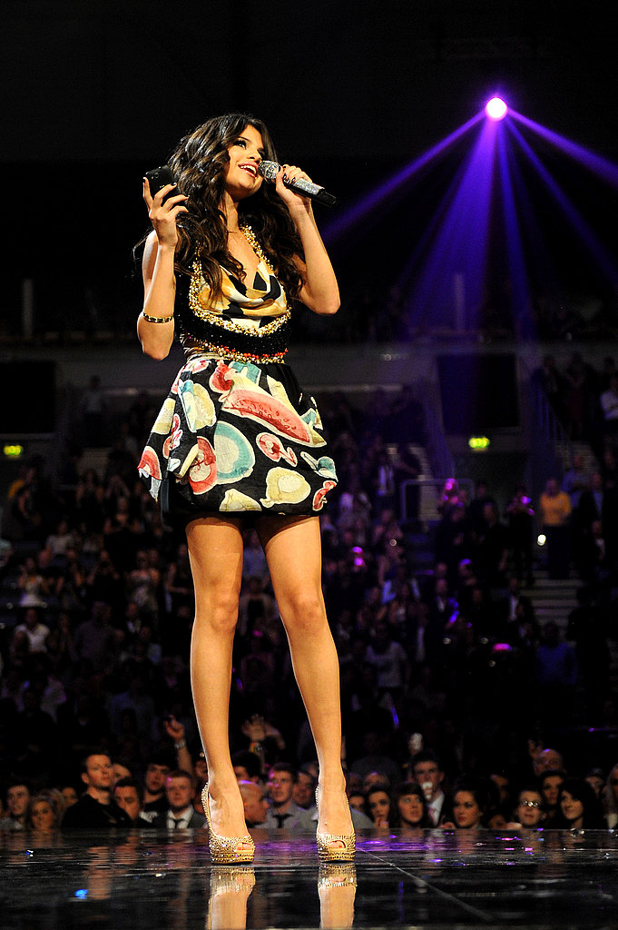 Selena Gomez changed into multiple outfits during her hosting duties.