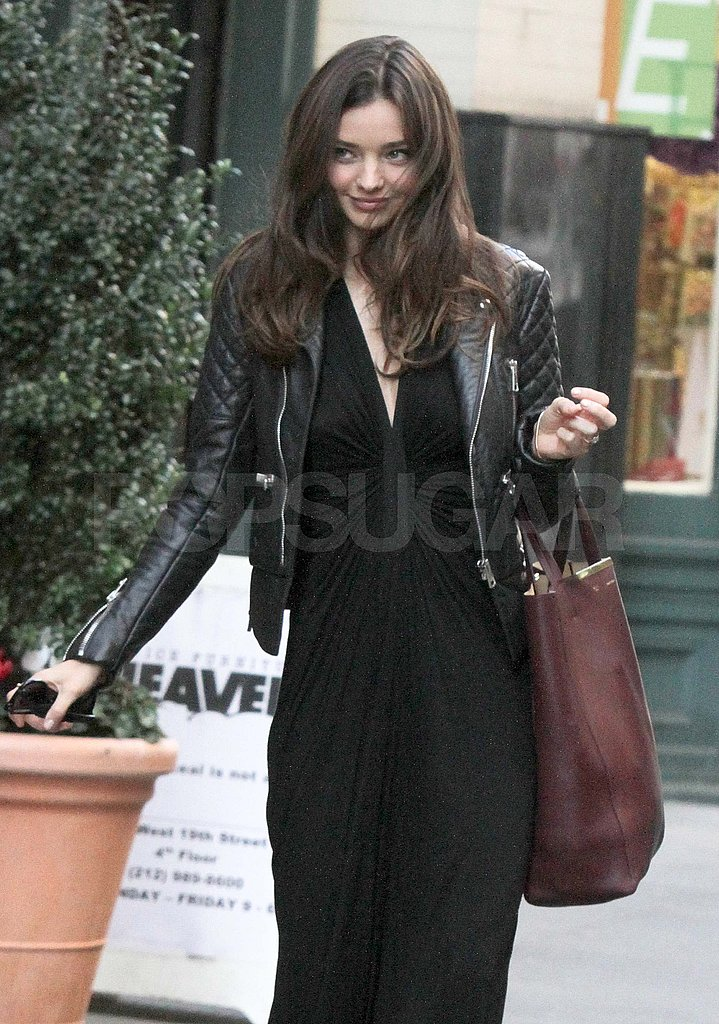 Miranda Kerr in a leather jacket.