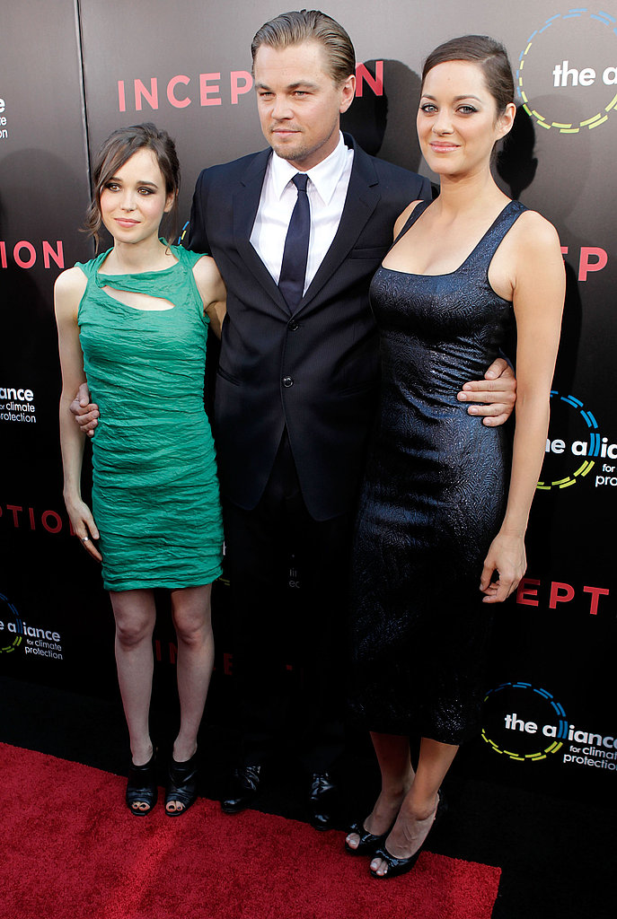 Leonardo DiCaprio attended the July 2010 premiere of Inception with costars Ellen Page and Marion Cotillard.
