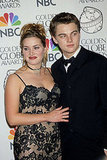 Titanic stars Leonardo DiCaprio and Kate Winslet posed in the press room at the Golden Globe Awards in 1998.