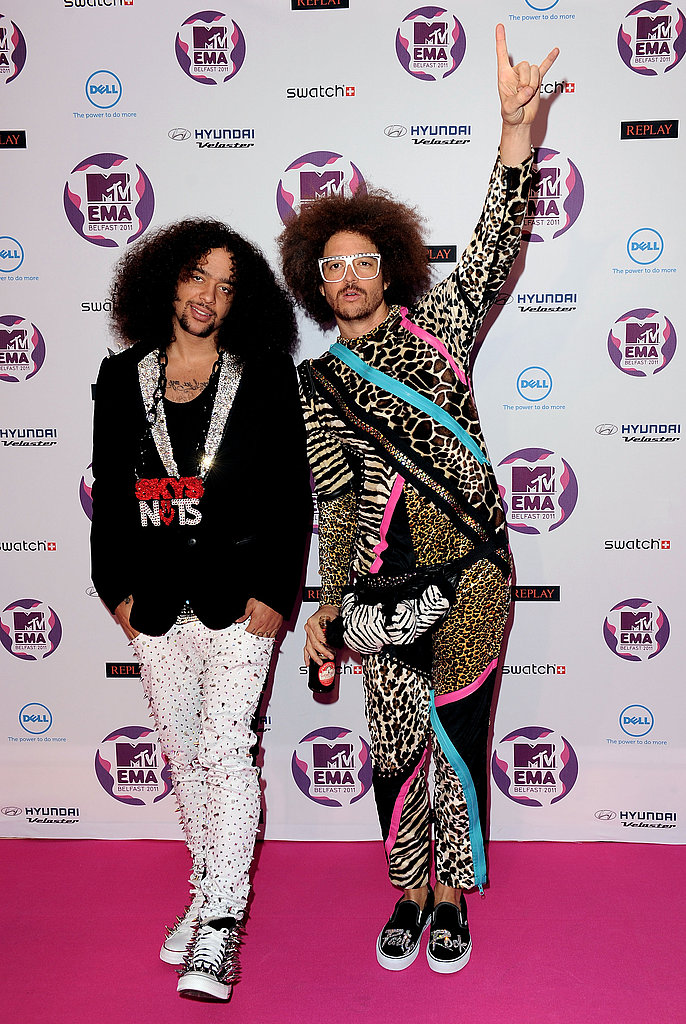 LMFAO shuffled along the pink carpet.