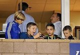 Brooklyn, Cruz, and Romeo Beckham played with a friend.