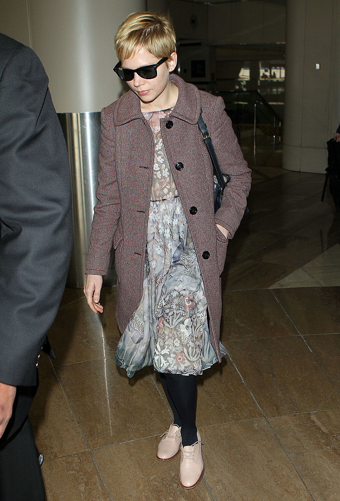 Michelle Williams flew into LAX.