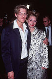 Leonardo DiCaprio and Claire Danes embraced on the red carpet at the Los Angeles premiere of Romeo & Juliet in 1996.