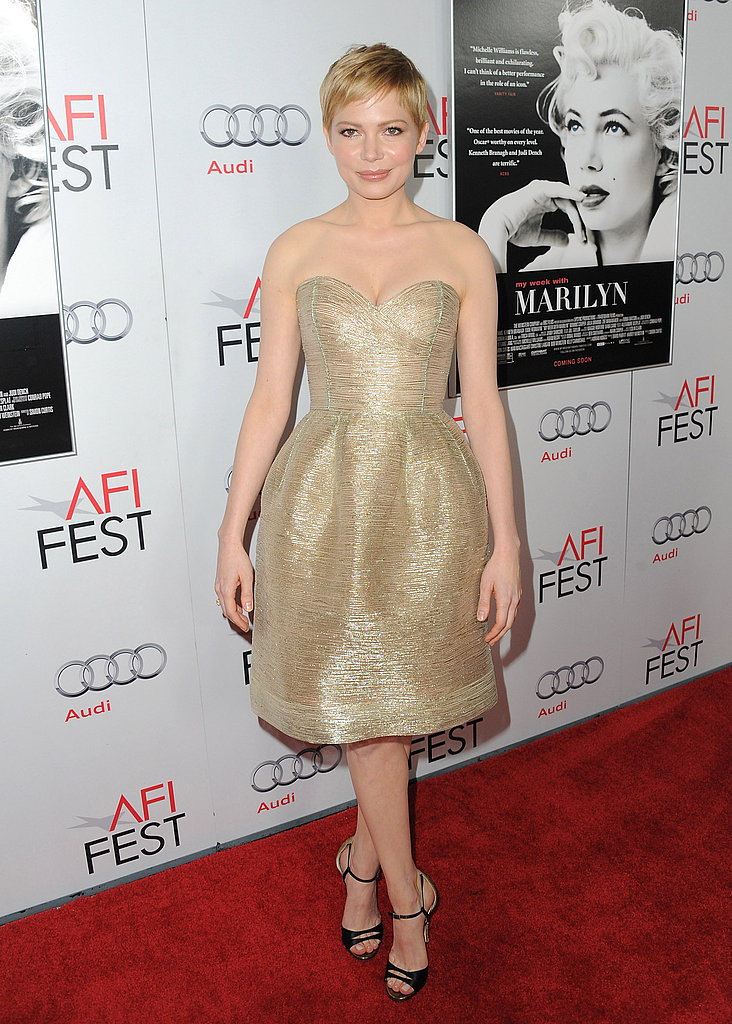 Michelle Williams was glowing in gold in LA.