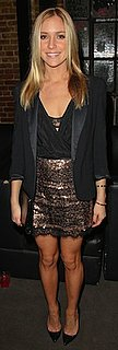 Kristin Cavallari in Sequin Skirt and Black Topshop Blazer