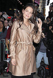 Katie Holmes adjusted her hair outside of the GMA studios.