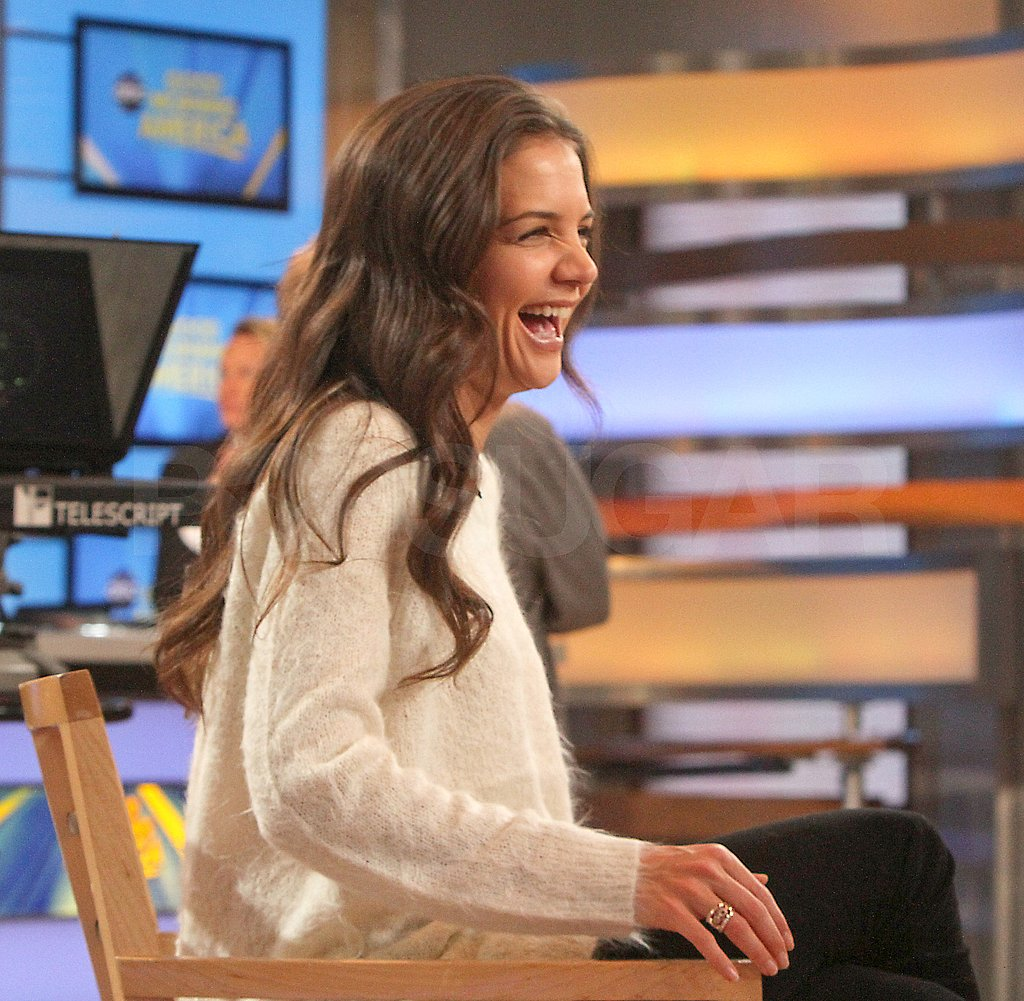 Katie Holmes wore a cozy sweater for her morning interview.