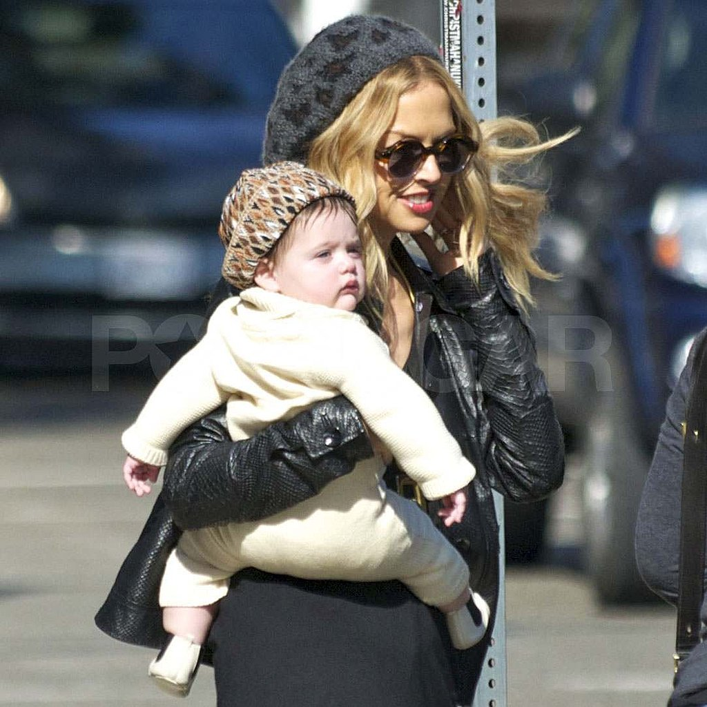 Rachel Zoe and Skyler in matching animal print hats.