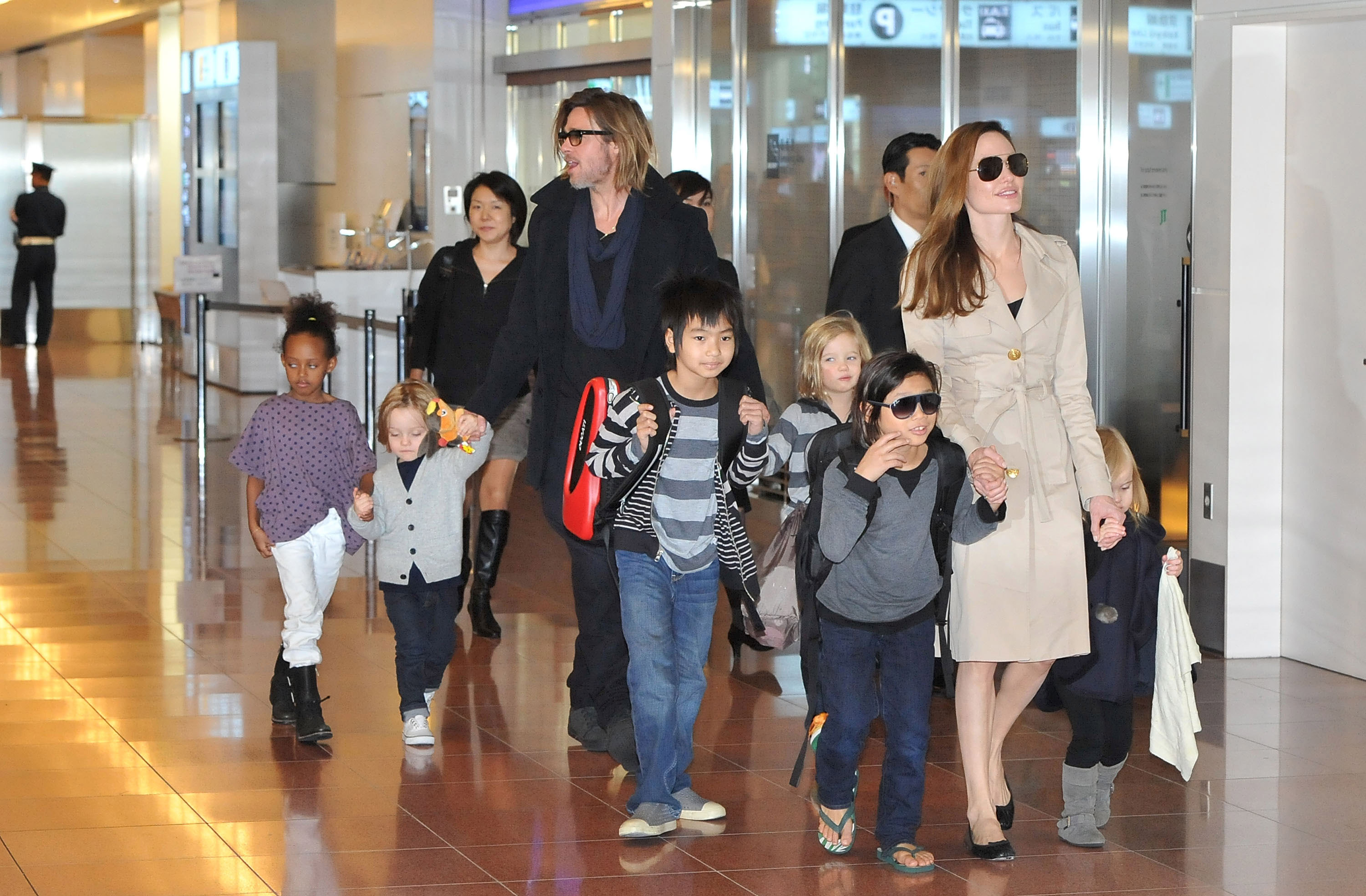 Angelina was in the front while Brad was just a few steps behind.