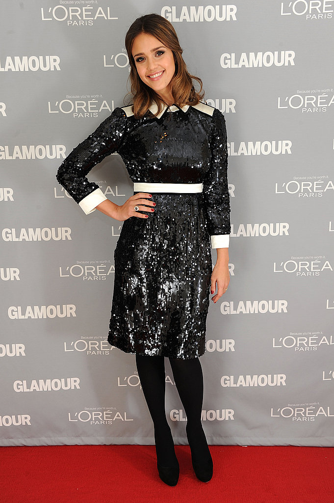 Jessica Alba glowed in a sequin dress.