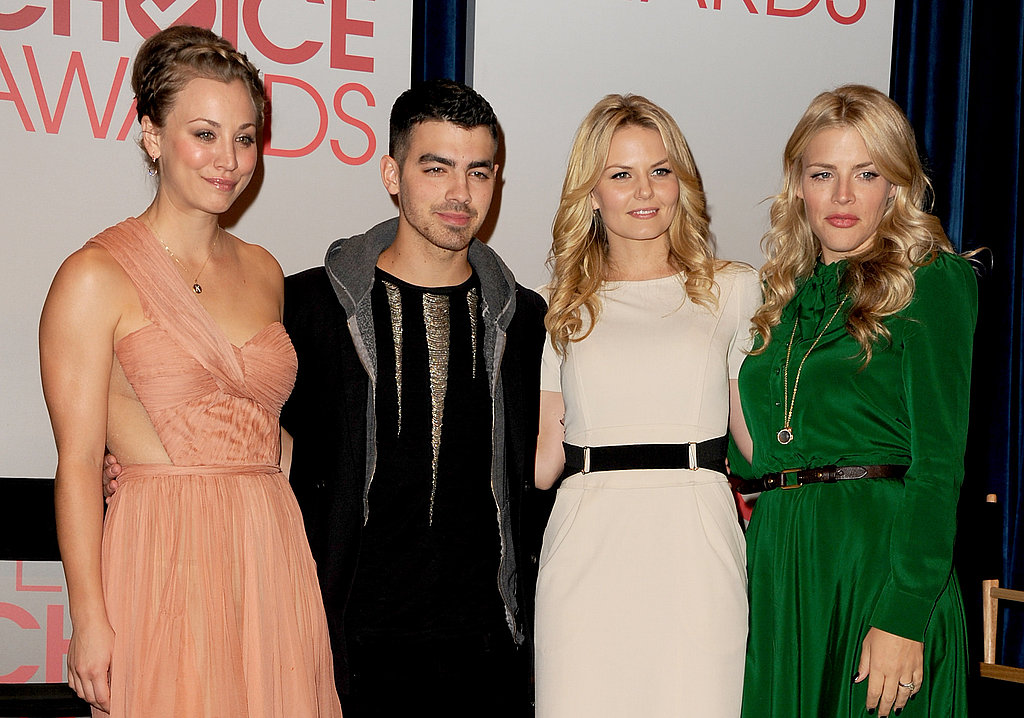 Kaley Cuoco, Joe Jonas, Jennifer Morrison, and Busy Philipps at the People's Choice Awards nominations.