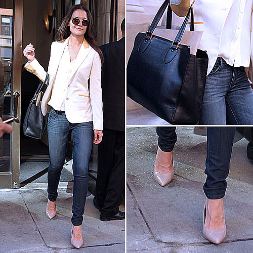 Celeb Style: Katie Holmes&#039;s White Blazer and Heels