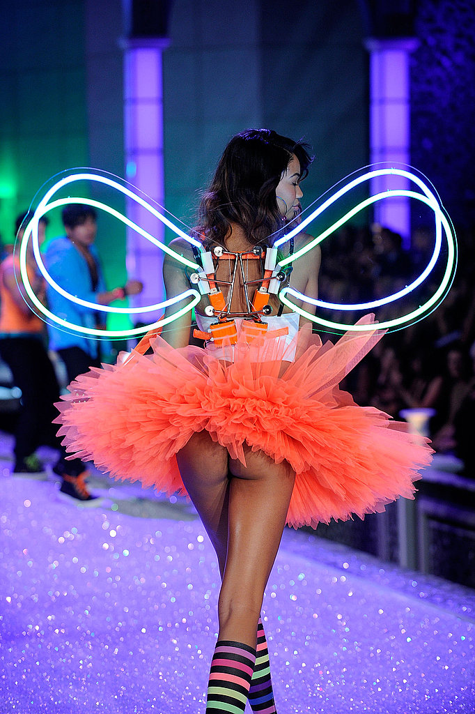 Chanel Iman walking a the Victoria's Secret Fashion Show.