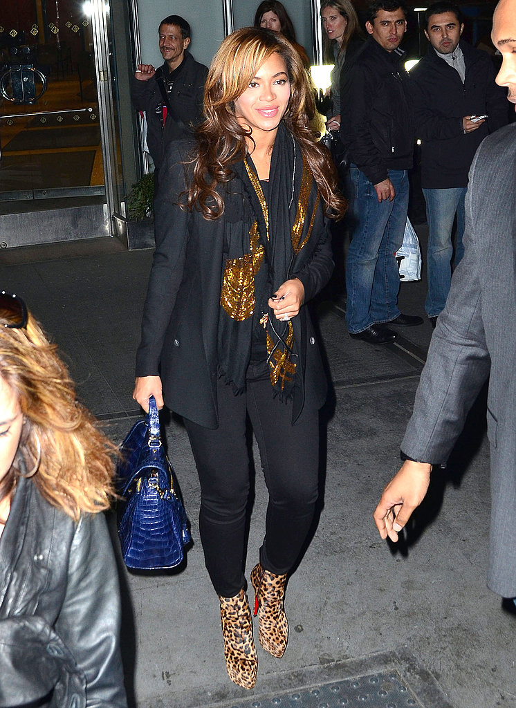 Beyoncé Knowles walked around in leopard booties.