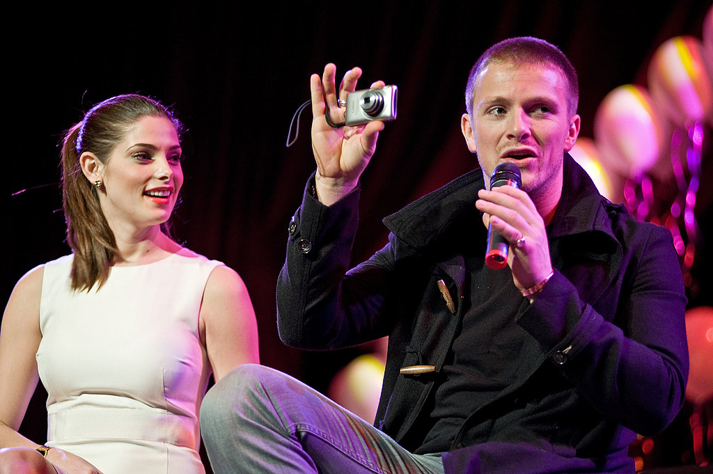 Ashley Greene checked out Charlie Bewley's camera.