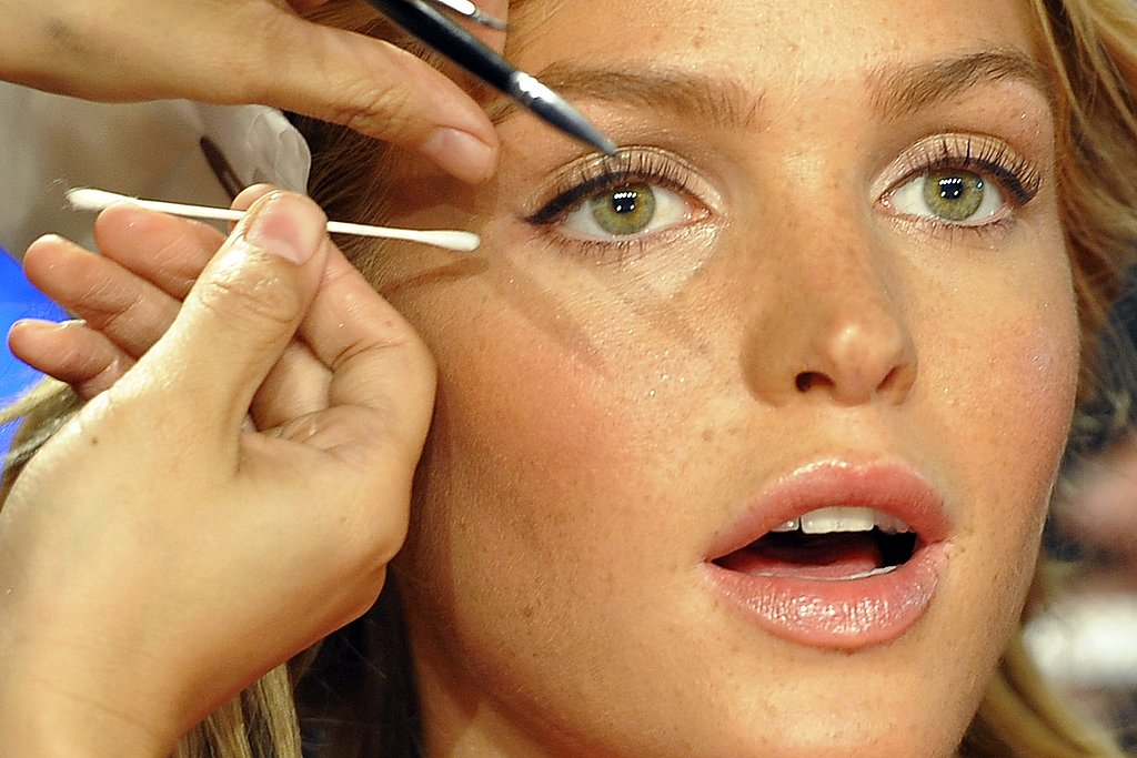 Erin Heatherton backstage at the Victoria's Secret show.