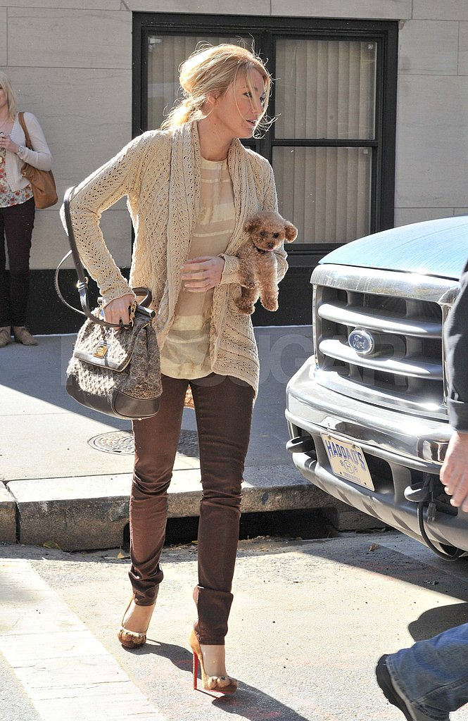 Blake Lively brings her dog to the Gossip Girl set.