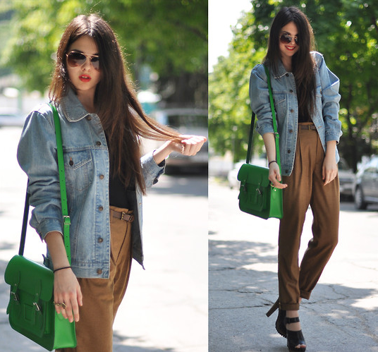 A bold green satchel steals the show in this perfectly crafted bit of street style.   Photo courtesy of Lookbook.nu