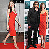 Angelina Jolie Wears Sexy Red Dress in Tokyo For Moneyball