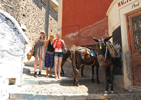 The girls went sightseeing in Greece in between challenges and the judges panel.  Photo courtesy of The CW