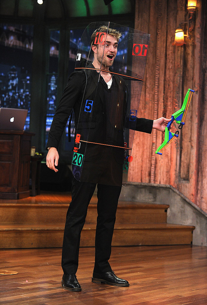 Rob held onto his neon bow.