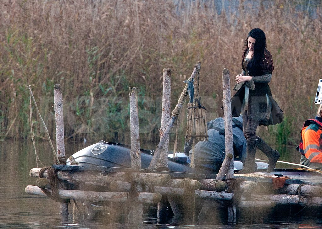 Kristen Stewart walked on a dock on set.