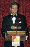 Prince William speaking at National Memorial Arboretum dinner in London.