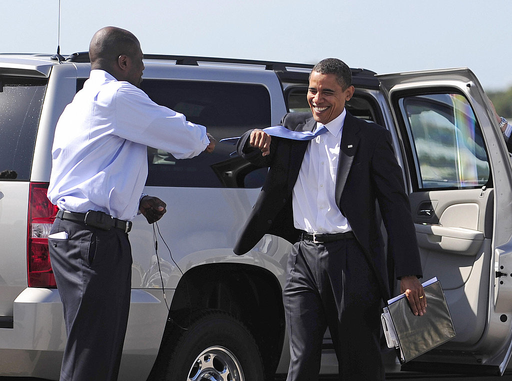 Reggie and Obama fist bump during a stop on the 2008 campaign trail.