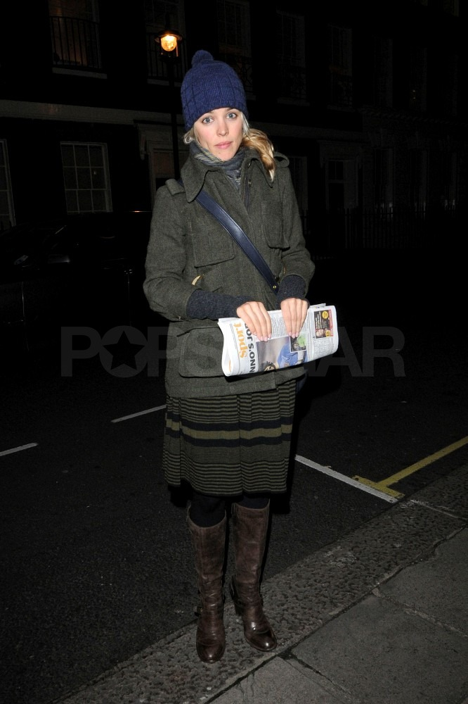 Rachel McAdams bundled up last night in London.