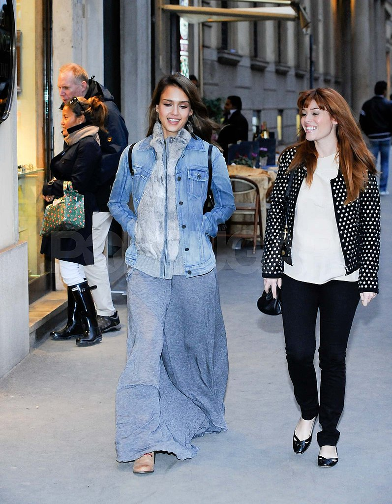 Jessica Alba and Lauren Andersen shopping in Milan.