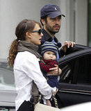 Natalie Portman shopped in LA with fiancé Benjamin Millepied and their son Aleph Millepied.
