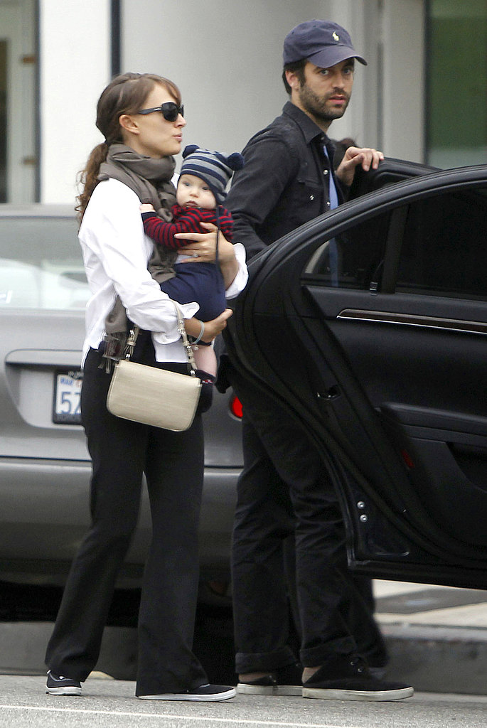 Natalie Portman out in LA with her son Aleph Millepied and Benjamin Millepied.