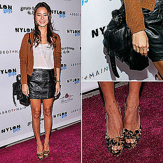 Jamie Chung Wearing Leather Miniskirt November 2011