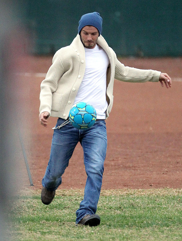 David Beckham kicked the ball to Brooklyn.