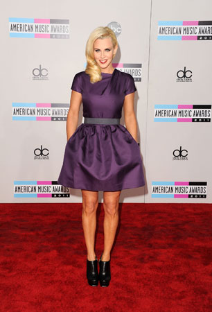 Jenny McCarthy wore a dark purple dress.