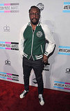 Will.i.am wrapped up in a varsity jacket at the American Music Awards.
