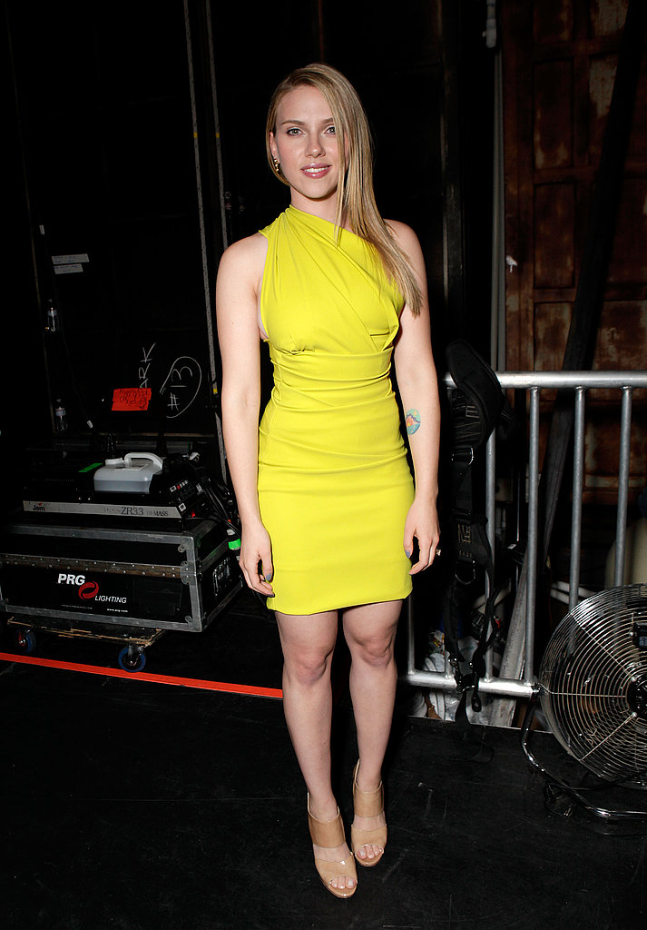 Scarlett Johansson donned a neon yellow minidress while attending Spike TV's Guys Choice Awards in 2010.