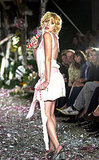 Scarlett Johansson performed in a sexy dress during a Cynthia Rowley Spring 2004 runway show.