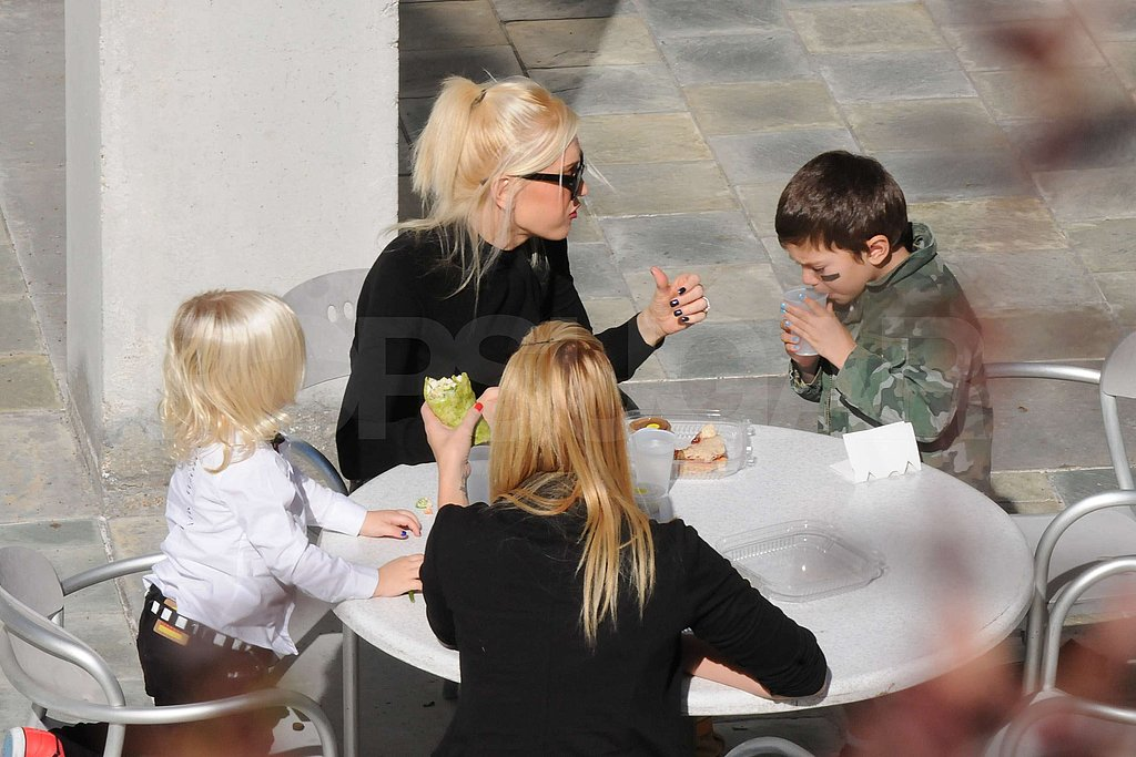 Gwen Stefani, Kingston Rossdale, and Zuma Rossdale spent a Sunday at the Skirball Cultural Center.