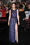 Kristen's J. Mendel dress had a very high slit.