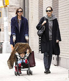 Flynn Bloom popped out from behind a blanket in NYC on a walk with Miranda Kerr.